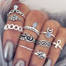 10 pc SILVER BOHO ANTIQUE  MOON CHAIN Band Midi Mid Finger Ring Holiday SM2