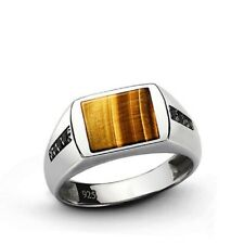 Natural Tiger Eye Gemstone Men's Ring 925 Sterling Silver Jewelry India Us 7 8