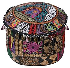 """Ethnic Round Bean Bag Ottoman Patchwork Embroidered Pouf Cover Cotton 18"""" Black"""