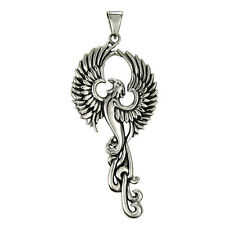 Solid Sterling Silver Phoenix Pendant Alchemy Occult Bird Avian Eagle Jewelry