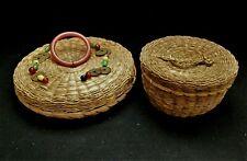 "2 Vintage Primitive Sweet Grass Sewing Baskets /w Lids - 9"" & 6"" wide"