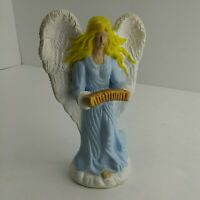 VTG Hand Painted Angel Ceramic Figurine Candle Holder Unmarked (5A1)