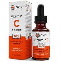 OVIE Pure Vitamin C Hyaluronic Acid Serum 20% for Face, BEST Anti Aging, 30 mL