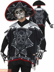 Day Of The Dead Mexican Bandit Halloween Skeleton Fancy Dress Costume Men Ladies