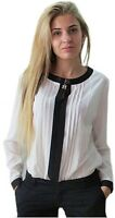 women's stylish elegant classy white and black long sleeve stripped blouse 14-16