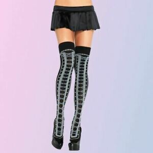 SIZE 6 8 10 12 LEG AVENUE BLACK FAUX LACE UP CORSET THIGH HIGH HI HOLD UP SEXY