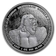 2017 Republic Of Congo 1 oz .999 Silver Proof-Like Silverback Gorilla Round Coin