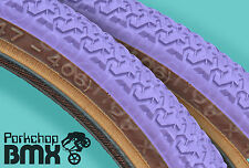 "Kenda K55 old school BMX skinwall gumwall tires PAIR 20"" X 1.75"" LAVENDER PURPLE"