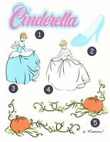 Cinderella Printed Die Cut Image(s) - single images and paired images, assorted