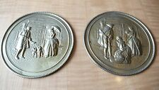Vtg. Round Tin Wall Hanging Street Scene Ucagco Made In England