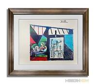 P. PICASSO Lithograph DATED LTD 69x49 -Preparatory Study UNESCO wall +Cstm FRAME
