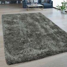 Hochflor Wohnzimmer Teppich Waschbar Shaggy Flokati Optik Einfarbig In Grau