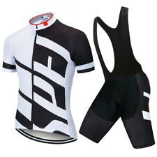 Mens Cycling Jersey Set Short Sleeve MTB Bike Shirt with Padded Pants