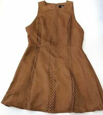 Mossimo Women's Brown Laser Cut Faux Suede Sleeveless Fit & Flare Dress Size L