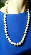 Creamy White Faux Glass Pearl Necklace 10mm 24 Inch Vintage Bride Wedding