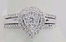 Diamonds Engagement Ring Bridal Set 1/2 ct 14k White Gold 2 bands Pear Halo wedd
