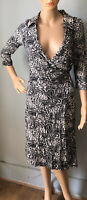 New look Paisley Floral wrap dress Sequin Bead Detail UK Size 10 Black White New