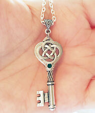 Outlander Antique Silver Celtic Knot Cross Weave Scottish Irish Necklace Chain