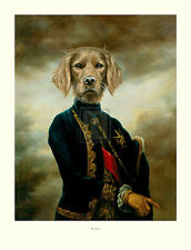 """THIERRY PONCELET """"The Marquis"""" dog portrait humour SIZE:86cm x 66cm NEW print"""