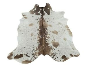 Cowhide Rug Brown White Speckled Real Natural 81 X 73 Inches