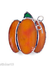 Pumpkin - Brooch - Pin or Pendant Switchables Stained Glass  JE215