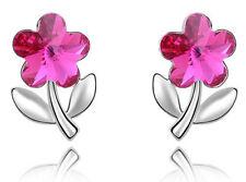 Amazing Crystal Light Pink Flower Shaped Silver Studs Earrings E248