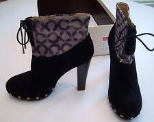 New Coach Ediva High Heel Booties Boots Black Size 9.5 Suede & Camo