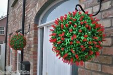 2 Large 40cm Best Artificial Lush RED Long Leaf Topiary Grass FLOWER Balls