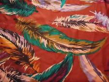 """1-YD & 8"""" POLY /SATIN/GEORGETTE FABRIC RUS/PINK/TEA FEATHERS PRINT NEW"""