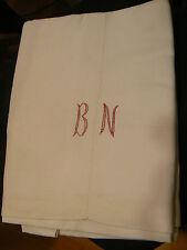 ancien drap en toile de coton monogramme BN brodé en rouge