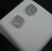 10K Men's/Women's Square White Gold 0.25CT Diamond Studs/ Earrings