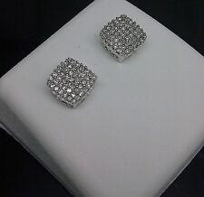 10K Men's/Women's Square White Gold 0.25CT Diamond Studs/ Earrings