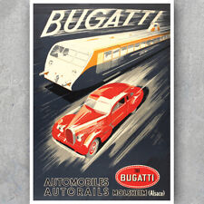 A3 A6 Vintage Motorsport Car POSTER - BUGATTI AUTOMOBILES - Retro Car Art Print