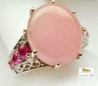 5.9 ct Pink Jade & Ruby Silver Ring