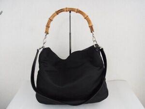 Auth SB12 GUCCI Bamboo line 2WAY bag with shoulder handbag from Japan