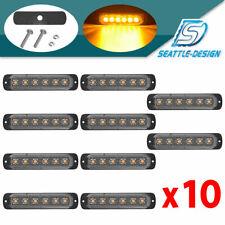 10× Amber 6LED Emergency Car Side Marker Grille Flash Strobe LED Hazard Lights