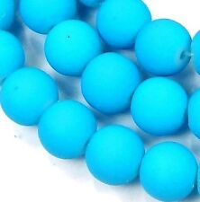 8mm Matte Frosted Neon Rubberized Glass Round Beads -  Turquoise Blue 16""