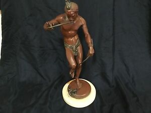 "Antique French 19thC bronze snake charmer Arthur Bourgeois 13.5"" GRT Cast Patina"