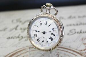 Antike ( EP ) Taschenuhr massiv 0.800 Silber pocket watch Cylindre Remontoir