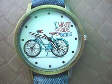 I Want To Ride My Bicycle watch Analogue Faux Leather Band BRAND NEW (9 colours)