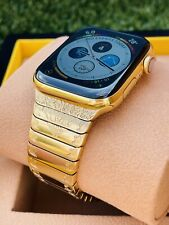 CUSTOM 24K Gold Plated 44MM Apple Watch SERIES 6 ENGRAVED POLISHED Band O2 Monit