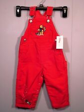 DISNEY POOH & FRIENDS EMBROIDERED OVERALLS 6 MO. RED CORDUROY SNAP BOTTOM NWT'S
