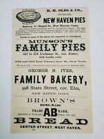 1883 New Haven Connecticut Advertisement Bakery Munson Pies HH Olds Ives Judson