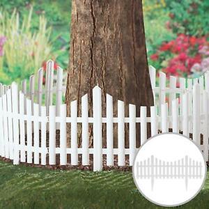 4Pcs Smart Garden White Picket Fence Path Border Lawn Plant Beds Picket Edging