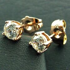 FS518 GENUINE 18K ROSE G/F GOLD SOLID CLASSIC DIAMOND SIMULATED STUD EARRINGS