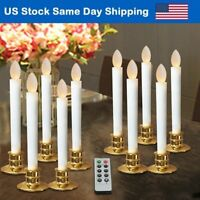 Christmas Flameless Taper Candles LED Window Light Timer Candle Remote Gold Base