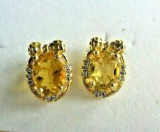 NATURAL 6 X 8mm. YELLOW BERYL & WHITE CZ EARRINGS 925 SILVER STERLING