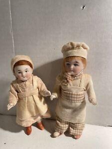 Antique German Bisque Miniature Brother & Sister Dolls !