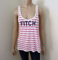 NEW Abercrombie Womens Striped Logo Tank Top Size Large Twist Racerback Shirt