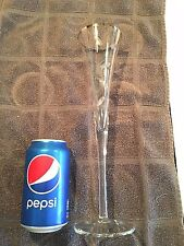 """Tall Champagne Flutes ~ Silver Rim ~ Etched Design ~ 12"""""""